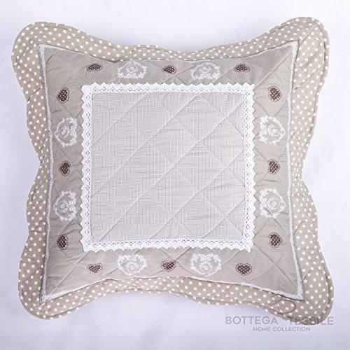 Coppia di Cuscini con Federe Completi di Imbottitura per complementi d'arredo per interni,divano,letto,giardino mod. MERANO - 40 x 40 cm - Colore BEIGE - Pezzi 2