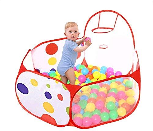 LAAT Ozean Bälle Pool Faltbar Kinder Ball Pit Laufstall Playpen Kleinkind Spiel Zelt Sea Ball Schwimmbad mit Mini Basketball Hoop Kinder Spielzeug Spiel Zelt für Kleinkinder 0,9m
