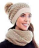 Winter Kombi Set, bestehend aus Damen Schal und passender Strick Mütze. Bommelmütze mit Pompon in aktuellen Farbkombinationen, Winter Set:4C-hellbraun