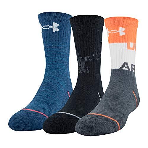Under Armour Unisex, Jugendliche Phenom Crew Socks, 3 Pairs, Orange Glitch Assorted, Shoe Size: Youth 13.5K-4Y