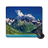 """Tappetino per mouse resistente nel bosco, altopiano del lago Altai Nuvole Giornata soleggiata per l'attrazione di viaggio per l'ufficio,Tappetino in gomma 11,8""""x 9,8"""", spessore 3 mm"""