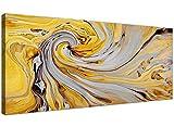 Accessoires de décoration murale en toile grise et jaune moutarde - abstrait 1290-120 cm de large.