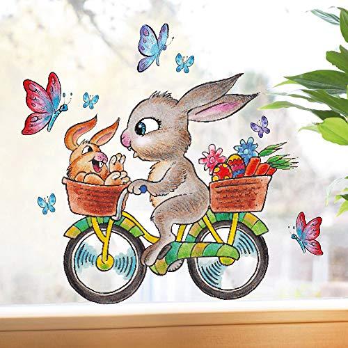 Wandtattoo-Loft Fensterbilder Frühling Hase auf Fahrrad Fensteraufkleber Ostern wiederverwendbar mit Schmetterlingen DIN A4