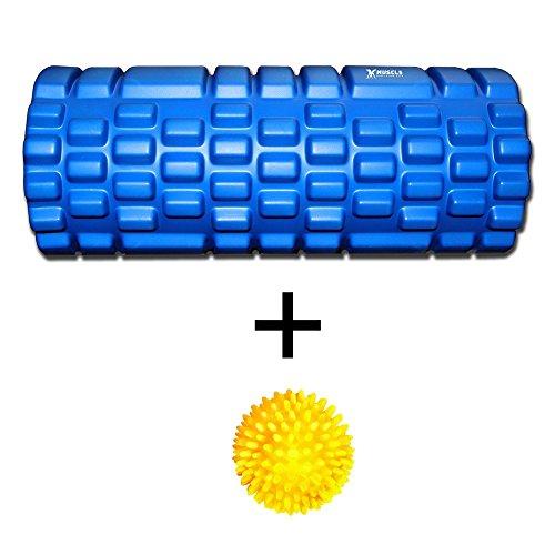 Rodillo de espuma para masaje profundo en tejido muscular. Ayuda con liberación miofascial + alivio del dolor. Estupendo después de Crossfit, Yoga, Pilates, correr, gimnasio y demás. Pelota de masaje gratis. Azul azul