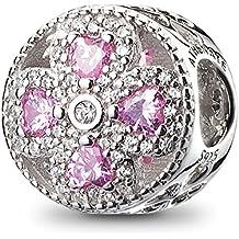 ATHENAIE plata esterlina 925 cristales de color rosa y claro CZ Crystalized trébol de cuatro hojas encanto encajar todas las europeas pulseras collar
