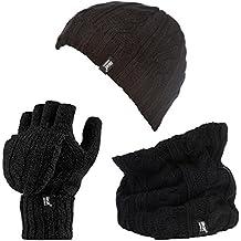 Heat Holders - Damen Warme Wintermütze Halswärmer und Handschuhe fingerlos ohne finger Set (Hat, NW, Converter set)
