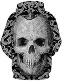 Bibao Lovers Pull à capuche 3D pour homme Motif tête de mort Automne Hiver  Manches longues 5953ebd9f05a
