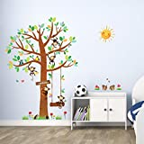Decowall DM-1401 5 Little Monkeys Tree Kids Wall Stickers Wall Decals Peel and Stick Removable Wall Stickers for Kids Nursery Bedroom Living Room