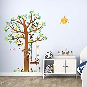 Decowall dm 1401 albero con 5 scimmiette adesivi da parete for Camera da letto principale con annesso asilo nido