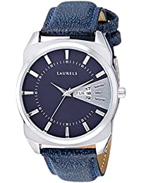 Laurels Invictus Blue Dial Day and Date Function Wrist Watch - For Men