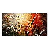 everfun Art Handbemalt Ölgemälde Moderne Musik Instrument Wand Kunst Abstrakt Artwork Wandbild zum Aufhängen, Öl, 80 * 40 inch