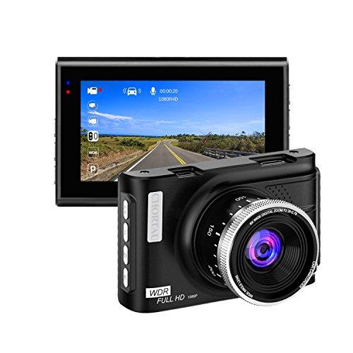 Chortau telecamera per auto full hd 1080p schermo da 3,0 pollici, 170° dashcam grandangolare, telecamera da cruscotto con g-sensor, registrazione loop, rilevamento movimento, monitor parcheggio, wdr