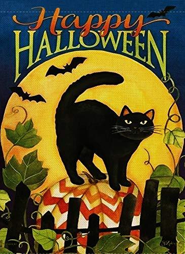 Dyrenson Home Deko Happy Halloween Garten Flagge schwarz Katze doppelseitig Kätzchen Zitat Haus Hofflagge Kitty, rustikal Outdoor Garten Hofdekoration Vintage Seasonal Outdoor Flagge 12 x 18 Urlaub