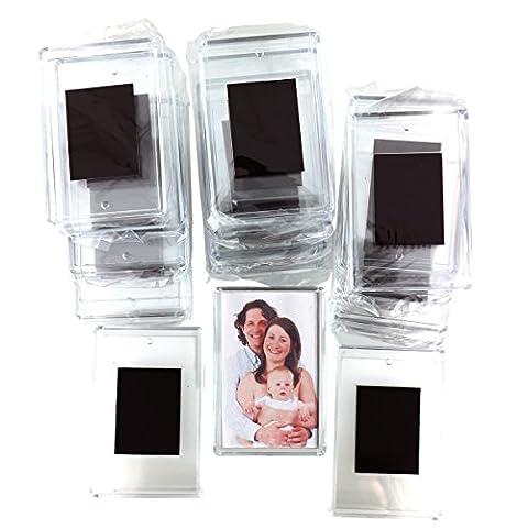 50 teiliges Set Rohlinge Magnetische Kühlschrank Fotorahmen Bilderrahmen Magnetrahmen von Kurtzy - Hochwertige transparente Acryl Kühlschrankmagnetem mit Bild Einsatz Größe 7cm x 4.5cm - Magnetischer Rahmen Ideal für Familienfotos