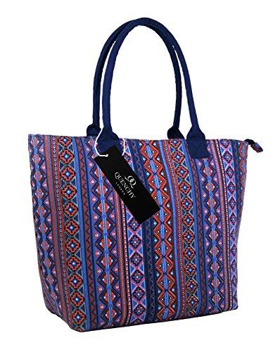 Borse per la spesa in tela,borse ideali per la spiaggia, borsa a tracolla per vacanza, stile shopping, 17stampa floreale per estate, design grazioso, a pois, da parete fiore, tinta unita, colore: bl Orange Aztec