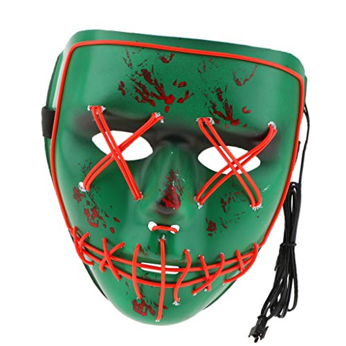 (Unbekannt MagiDeal LED Leuchtet Maske Partymaske für Horror Halloween Kostüm Cosplay Party, Glow in Dark - Rot)