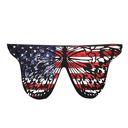 Xmiral Frauen Weiche Gewebe Schmetterlings Flügel Schal Damen Cosplay Weihnachten Cosplay Kostüm Zusatz(B-Weiß)