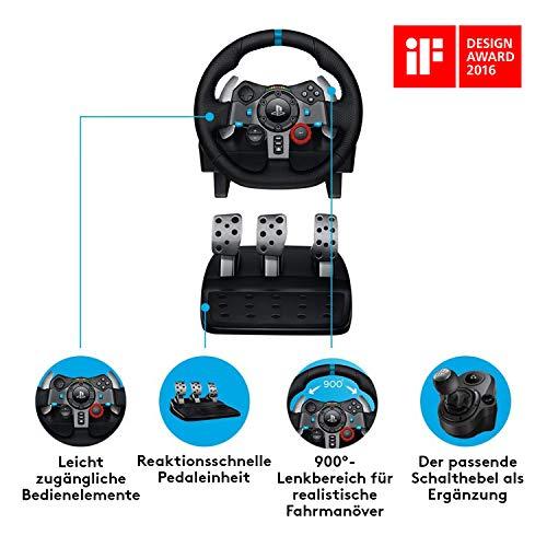 Bild 3: Logitech G29 Driving Force Gaming Rennlenkrad, Zweimotorig Force Feedback, 900° Lenkbereich, Leder-Lenkrad, Verstellbare Edelstahl Bodenpedale, PS4/PS3/PC/Mac - Schwarz