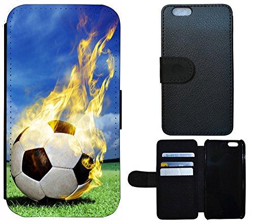 Flip Cover Schutz Hülle Handy Tasche Etui Case für (Apple iPhone 4 / 4s, 1315 Fußball Fussball Schwarz Weiß Blau) 1315 Fußball Fussball Schwarz Weiß Blau
