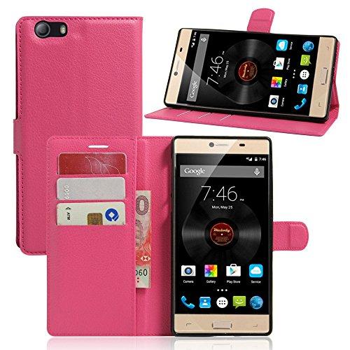 Tasche für Elephone M2 Hülle, Ycloud PU Ledertasche Flip Cover Wallet Case Handyhülle mit Stand Function Credit Card Slots Bookstyle Purse Design Rose Red