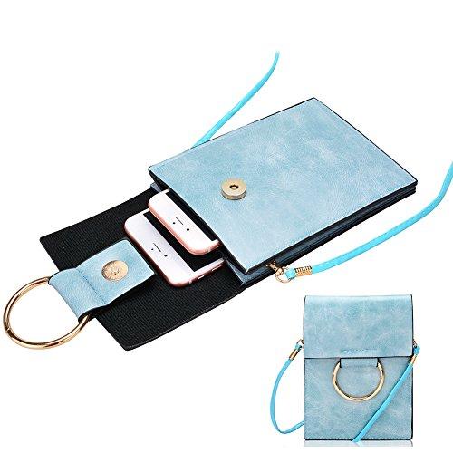 Cellulare Pouch Bag con Tracolla Rimovibile, Fukalu Multifunzionale del Telefono Cellulare Crossbody Pouch della Borsa a Mano per iphone 6 / 6S Plus, Samsung Galaxy Note 7/6 e Smartphone in 5,5 pollic Blu