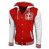 College Baseball Kapuzen Jacke Damen Herren Oldschool Jacket Sweatjacke 6876-1, Farbe:Weiß / Rot;Größe:S