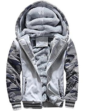 OverDose abrigos hombre invierno campera de abrigo de lana con capucha de la cremallera