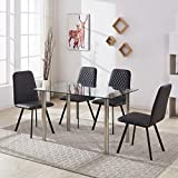 GIZZA Clear Glass Dining Room Table with 4 Chairs Set Padded Chairs in Faux Leather Upholstered Furniture (Black)