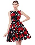 50s dress for women rockabilly kleid blumenkleid sommerkleid damen knielang partykleid Größe S CL6086-35