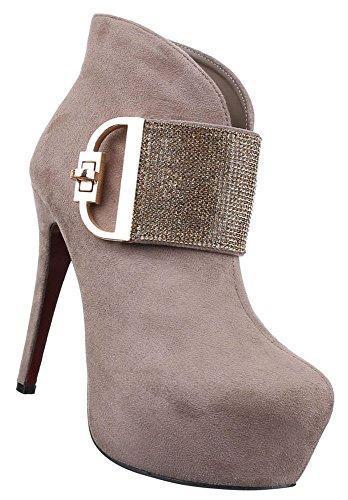 Damen Stiefeletten Schuhe Strass Besetzte High Heels Schwarz 36 37 38 39 40  41 Hellbraun c99b28e2cb