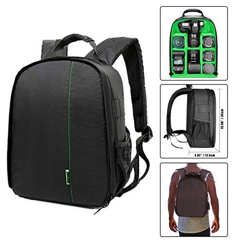 Followsun compatto zaino per fotocamera borsa per nikon canon sony reflex dslr e obiettivo, flash, zaino fotografico impermeabile antiurto con imbottitura interna -34 x 26.5 x 12.5cm (interno verde)