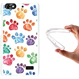 Funda Huawei G Play Mini - Huawei Honor 4C, WoowCase [ Huawei G Play Mini - Huawei Honor 4C ] Funda Silicona Gel Flexible Huellas Perro, Carcasa Case TPU Silicona - Transparente