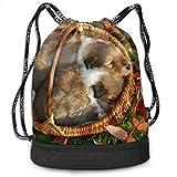 Osmykqe Pet Puppies Men Women Waterproof Drawstring Backpack Rucksack Yoga Dance Travel Shoulder Bags