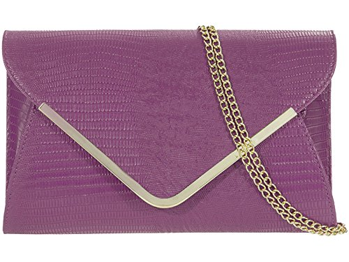 fi9® borsetta da sera o da matrimonio, effetto pelle di coccodrillo luccicante. Da tenere in mano o a tracolla Multicolore (viola)