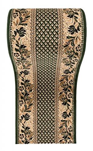 Läufer Teppich Flur in Beige Grün - Traditionell Europäisch Muster - Kurzflor Teppichlaufer