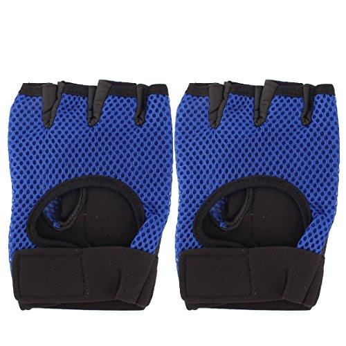 sourcingmap® 1Paar Motorrad Sportarten Masche fingerlose Handschuhe Handschutz Bandage blau