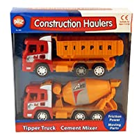 Friction Powered Tipper Truck & Cement Mixer Vehicle Play Set Childrens Kids Toy