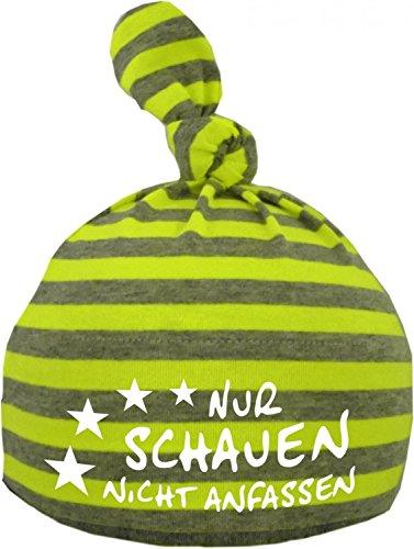 KLEINER FRATZ Baby 1-Zipfel Mütze (Farbe neongelb/grau) (Gr. 1 (0-74)) Nur schauen nicht anfassen/FAT