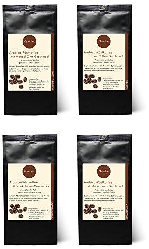4 x Kaffee mit Geschmack Geschenkset - Mandel Zimt, Toffee, Schokolade, Macadamia - Arabica Röstkaffee mit Aroma - gemahlen - 4 x 75 g (300 g insgesamt)