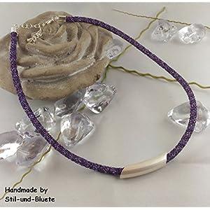 Halskette Farbe: helllila - dunkellila - dunkelblau mit silbernem Slider - Unikat