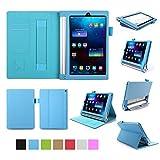 ISIN Housse pour Tablette Série Étui Premium PU avec Support pour Lenovo Yoga Tablet 2 YT2-830 et Tab 3 YT3-850 de 8.0 pouces Tablette Avec Sangle Velcro et Slot Cartes (Bleu)