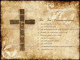 Diez Mandamientos 10Cruz Cristiana religiosa Cita de la tipografía Arte Póster qu152