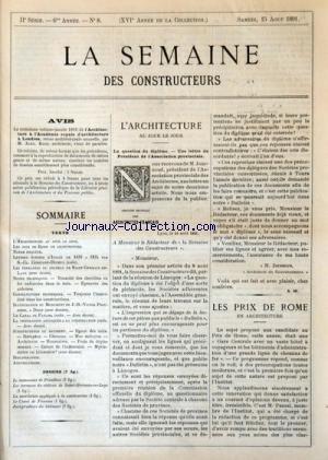 SEMAINE DES CONSTRUCTEURS (LA) [No 8] du 15/08/1891