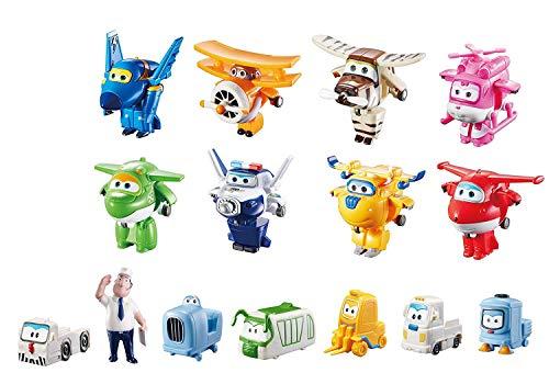 Super Wings Transform-a-Bots World Airport Crew - Serie 1 - Crew Sammelpackung - 15 Spielzeugfiguren - 5,1 cm Figuren -