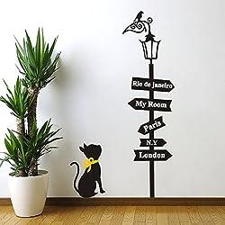 Papel de pared de vinilo Asenart extraíble, diseño de gato mirando farola, pegatinas de pared para salón, tamaño 86cmx48cm