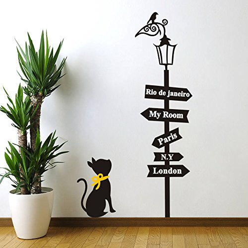 """asenart gato mirando la Calle Lámpara extraíble pared de vinilo pegatinas de pared, sala de estar Tamaño 34""""* 19"""""""