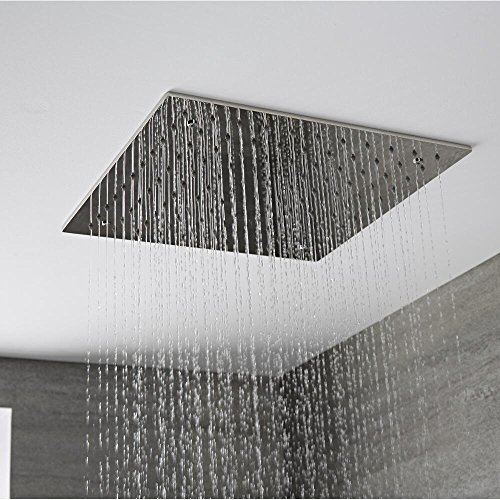 Hudson Reed Duschkopf Trenton Tile - Quadratische Unterputz-Kopfbrause aus Edelstahl - 400 mm x 400 mm - Regendusche mit Anti-Kalk-System