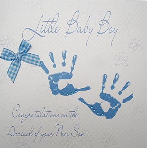 White Cotton Cards Blue Handprints