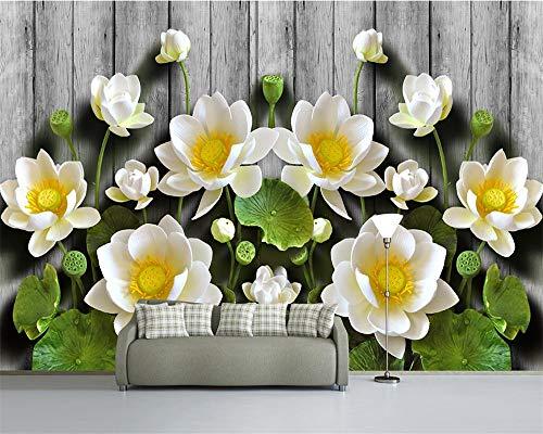 ZAMLE Custom Wallpaper Green Relief Lotus Wood Grain 3D Tv Sofa Background Walls Living Room Bedroom Murals 3D Wallpaper,350X245 Cm (137.8 By 96.5 In)