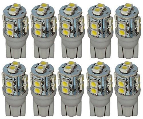 Aerzetix - 10 x lampadina T10 W5W 12V 10 LED SMD Bianco Xenon Effetto .